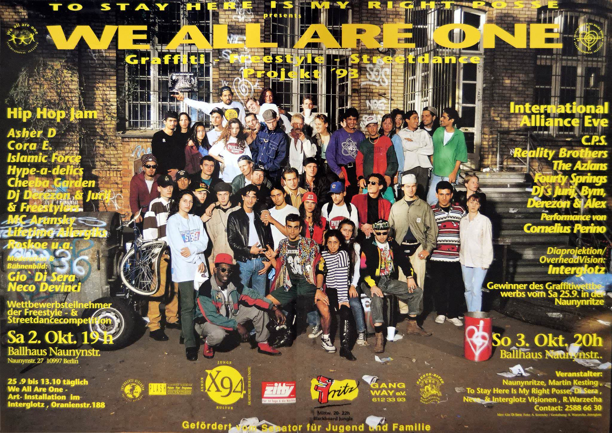 We all are One x To Stay Here is my right Posse Berlin Kreuzberg 1993